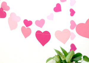 Ombre pink hearts garland decor