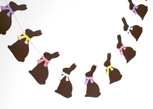 Chocolate brown Easter bunny banner garland