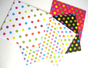 Japanese Origami paper with polka dots pattern - 100 sheets