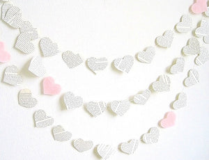 Light pink upcycled book paper hearts garland