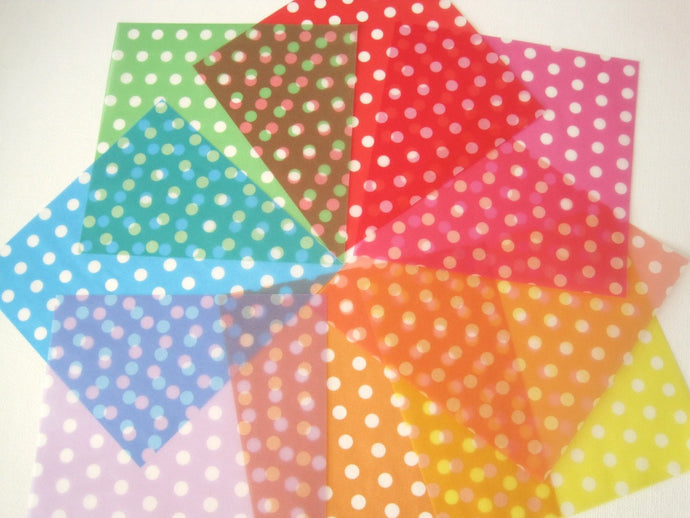 Origami paper pack with polka dot pattern