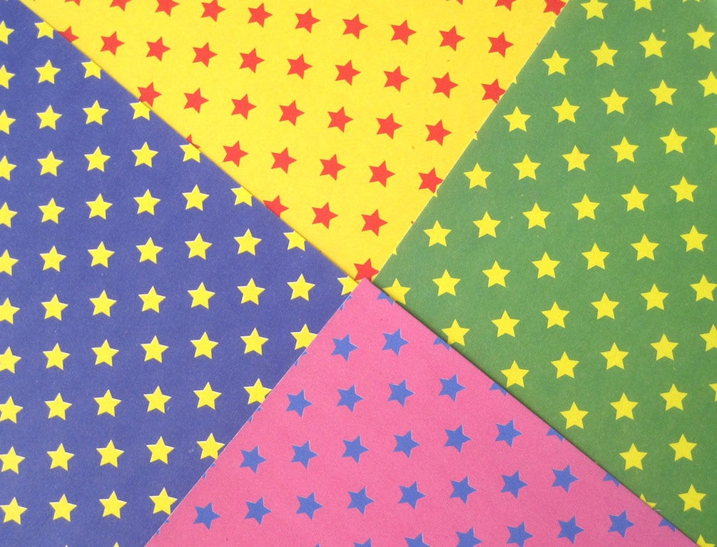 Japanese Origami paper sheets with colorful stars pattern