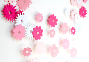 Pink ombre paper flower garland
