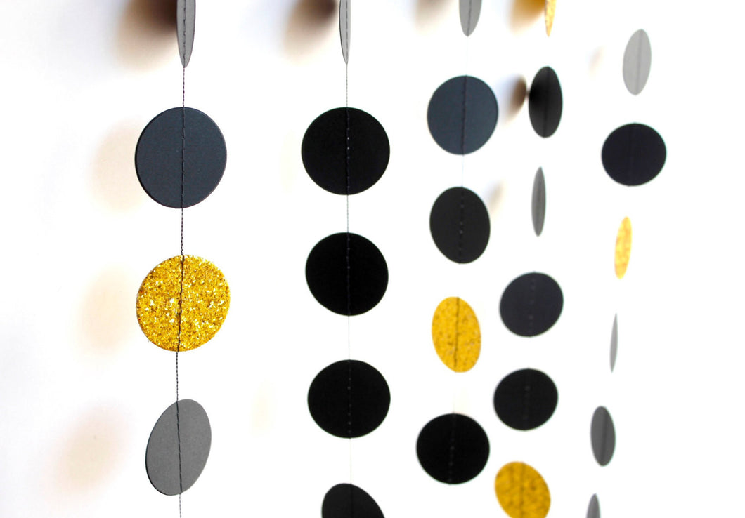 Black and Gold paper circles garland