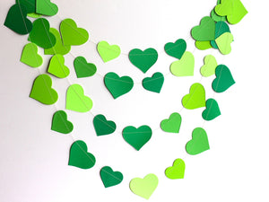 Green paper hearts garland