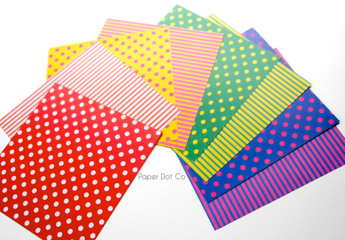 Origami paper pack with stripes and polka dots pattern