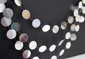 Metallic Silver dots circle garland