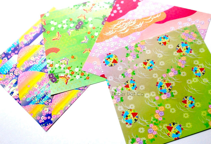 Chiyogami Origami paper pack with colorful variety patterns (green, pink, purple)