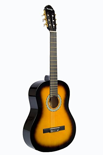 "39"" Inch Full Size Natural Beginner Classical Nylon String Guitar & DirectlyCheap(TM) Translucent Blue Medium Guitar Pick (PRO-S Series) [Teacher Approved]"