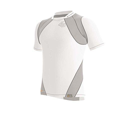 Shock Doctor Velocity Motion 360 Short Sleeve Compression Shirt, White/Grey, Boy's L
