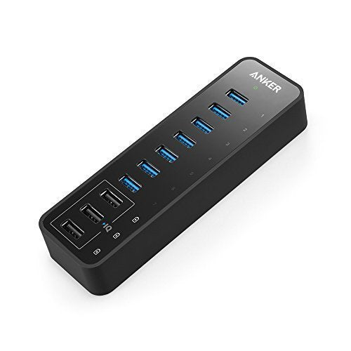 Anker 10 Port 60W Data Hub with 7 USB 3.0 Ports and 3 PowerIQ Charging Ports for Macbook, Mac Pro / mini, iMac, XPS, Surface Pro, iPhone 7, 6s Plus, iPad Air 2, Galaxy Series, Mobile HDD, and More