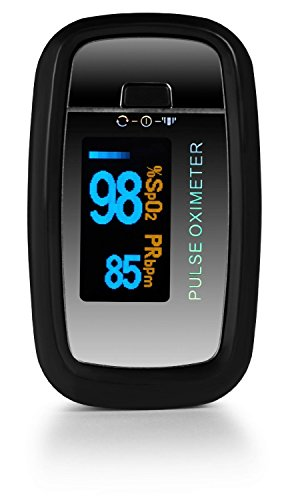 AccuMed CMS-50D1 Pulse Oximeter Finger Pulse Blood Oxygen SpO2 Monitor w/ Carrying case, Landyard & Battery FDA CE Approved (Black)