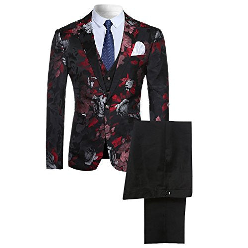 CloudStyle Men's 3-piece Suit Notched Lapel Floral One Button Modern Blazer Vest Pants Sets