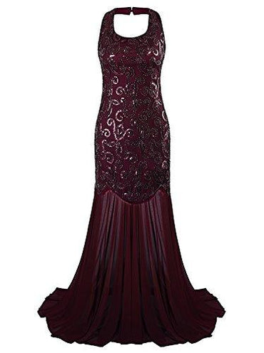 Vijiv 1920s Halter Mermaid Evening Dress For Women Formal Long Prom Dress