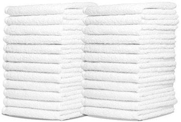 Wash Cloth Kitchen Towels by Royal, 24-Pack, 100% Natural Cotton Bath Towels, 12 x 12 Hand Towels, Commercial Grade Washcloth, Machine Washable Cleaning Rags, Wash Cloths for Bathroom