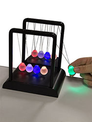 Newton's Multi-Color Light Up Cradle with LED Glass Balls and Mirror for Desktops