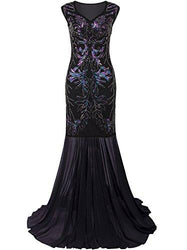 Vijiv 1920s Long Prom Dresses V Neck Beaded Sequin Gatsby Maxi Evening Dress