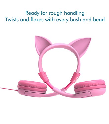 7deb838690f iClever BoostCare Kids Headphones, Cat-inspired Wired On-Ear Headsets with  85dB Volume