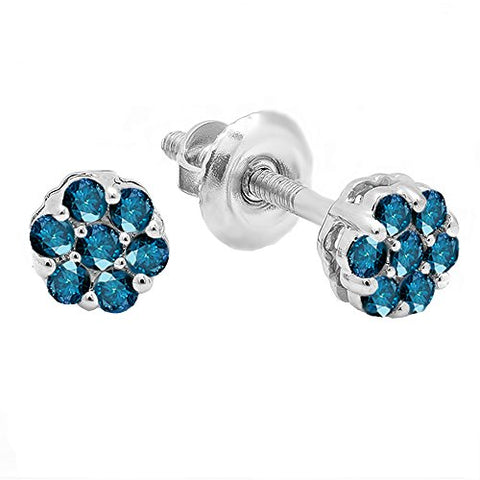 0.20 Carat (ctw) 14K White Gold Ladies Cluster Flower Earrings 1/5 CT