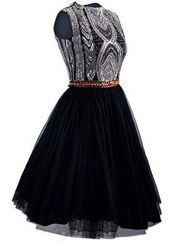 Vijiv 1920s Short Prom Dresses A Line High Neck Organza Beaded Homecoming Dress