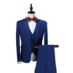 Mens Vertical Pinstripe/ Plaid 3 Piece Suit Slim Fit Dress