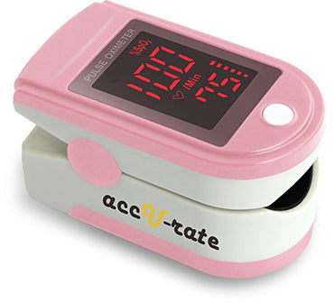 Acc U Rate Pro Series 500DL Fingertip Pulse Oximeter Blood Oxygen Saturation Monitor with silicon cover, batteries and lanyard, Blushing Pink