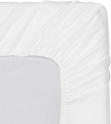 Fitted Sheet (Pack of 6, Twin, White) Deep Pocket Brushed Velvety Microfiber, Breathable, Soft