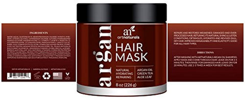 ArtNaturals Argan Oil Hair Mask - (8 Oz/226g) - Deep Conditioner - 100% Organic Jojoba Oil, Aloe Vera & Keratin