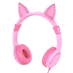 iClever BoostCare Kids Headphones, Cat-inspired Wired On-Ear Headsets with 85dB Volume Limited, Food Grade Silicone Material (Kids-friendly), 3.5mm Audio Jack Cable, Pink