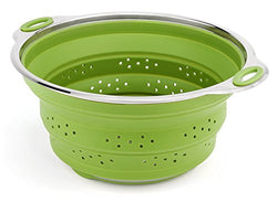 iNeibo Large Capacity Collapsible Silicone Colander/Strainer/Steamer with Stainless Steel Base Heat Resistant (Green)
