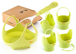 Instant Pot Accessories by Skoo. Silicone Vegetable Steamer Basket, Egg Poachers and Fork. Egg Cooker and Food Steamer Set for Stove Top, Pressure Cookers, Microwave Safe. Natural Green.