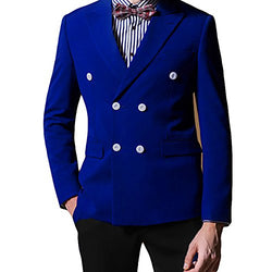 Mens 2-Piece Suit Double Breasted Notched Lapel Blazer Jacket & Trousers
