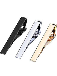 Mudder 3 Pieces Mens Ties Bar Clips Silk Tie Bar Set, Silver, Black and Golden