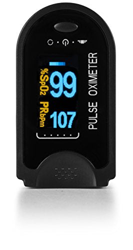 AccuMed CMS-50D Pulse Oximeter Finger Pulse Blood Oxygen SpO2 Monitor w/ Carrying case, Landyard Silicon Case & Battery (Black)