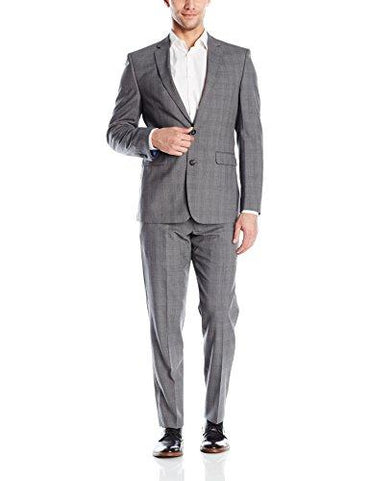 Vince Camuto Men's Grey Windowpane Suit, Grey Plaid/Orange Deco