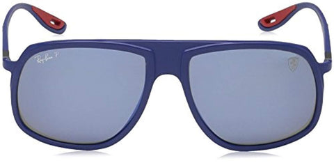 Ray-Ban Men's Injected Man Polarized Square Sunglasses, Matte Dark Blue, 0 mm