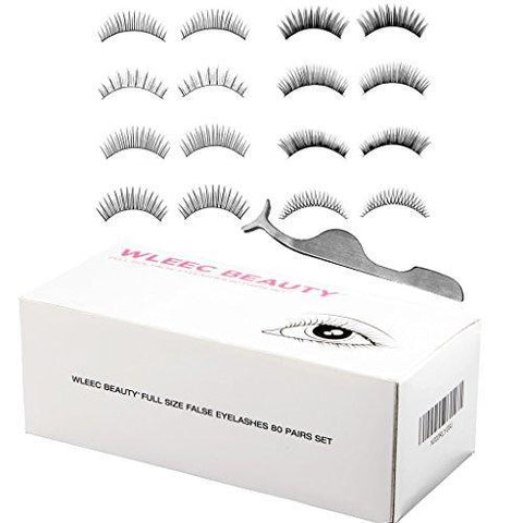 Wleec Beauty 80 Pairs Fake Eyelashes Set, 10 Pairs False Lashes Each Style (8 Styles)