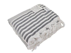 Oversized Turkish Towel, Soft Terry Cloth Back, Striped Turkish Bath Towel, Beach Towel, Extra Large Peshtemal Bath Sheet for Plus Size, Nautical Style Thin Hammam Towel, Cotton Fouta (GREY & BLACK)