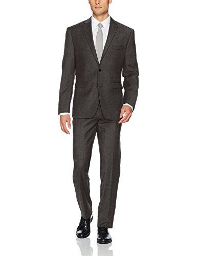 Vince Camuto Men's Slim Fit 100% Wool Neat Suit, Brown