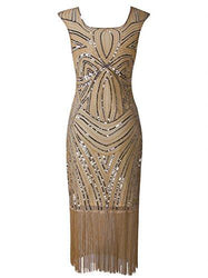 Vijiv Women's 1920s Vintage Gatsby Inspired Beaded Long Fringe Party Flapper Dress With Sleeves