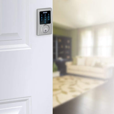 Schlage Z-Wave Connect Century Touchscreen Deadbolt with Built-In Alarm, Satin Chrome, BE469 CEN 626, Works with Alexa via SmartThings, Wink or Iris