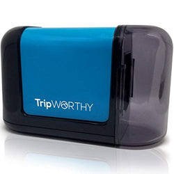 TripWorthy Electric Pencil Sharpener - Battery Operated (No Cord) - Ideal For No. 2 and Colored Pencils (Drawing, Coloring) - Small and Durable - Kid Friendly - Artist, Students, and Professionals