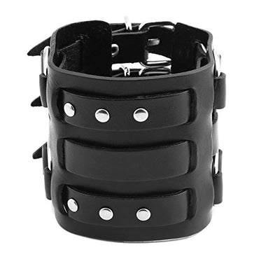 HZMAN Men's Alloy Ring Genuine Leather Bracelet Bangle Cuff Silver Tone Black Adjustable