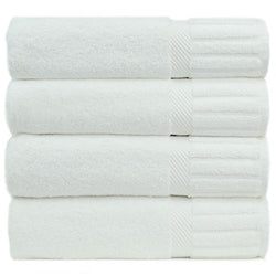 Luxury Hotel & Spa Towel Turkish Cotton Piano (WHITE, Bath Towel  - Set of 4)