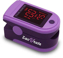 Zacurate Pro Series 500DL Fingertip Pulse Oximeter Blood Oxygen Saturation Monitor with silicon cover, batteries and lanyard (Royal Purple)