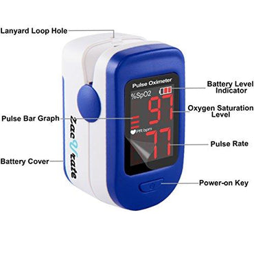 Zacurate® 400B Fingertip Pulse Oximeter Blood Oxygen Saturation Monitor with batteries and lanyard included (Light Navy Blue)