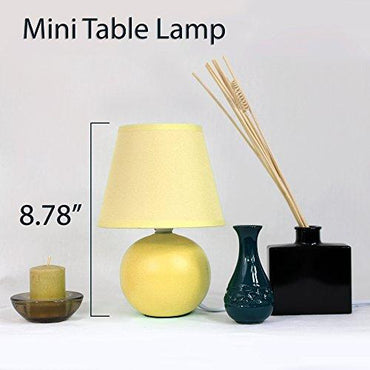 Simple Designs LT2008-YLW Mini Ceramic Globe Table Lamp, Yellow