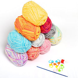 LIHAO 10 Skeins Color Gradient Yarn for Crochet Knitting Crafting