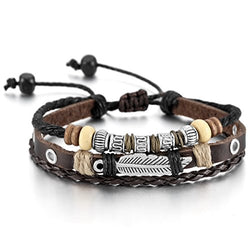 MOWOM Brown Black Silver Tone Alloy Genuine Leather Bracelet Angel Wing Feather Surfer Wrap Adjustable