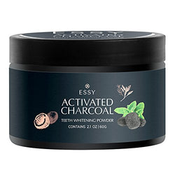 Natural Teeth Whitening Powder - Made in USA with Coconut Activated Charcoal and Food Grade Formula - Candy Cane Mint Flavor